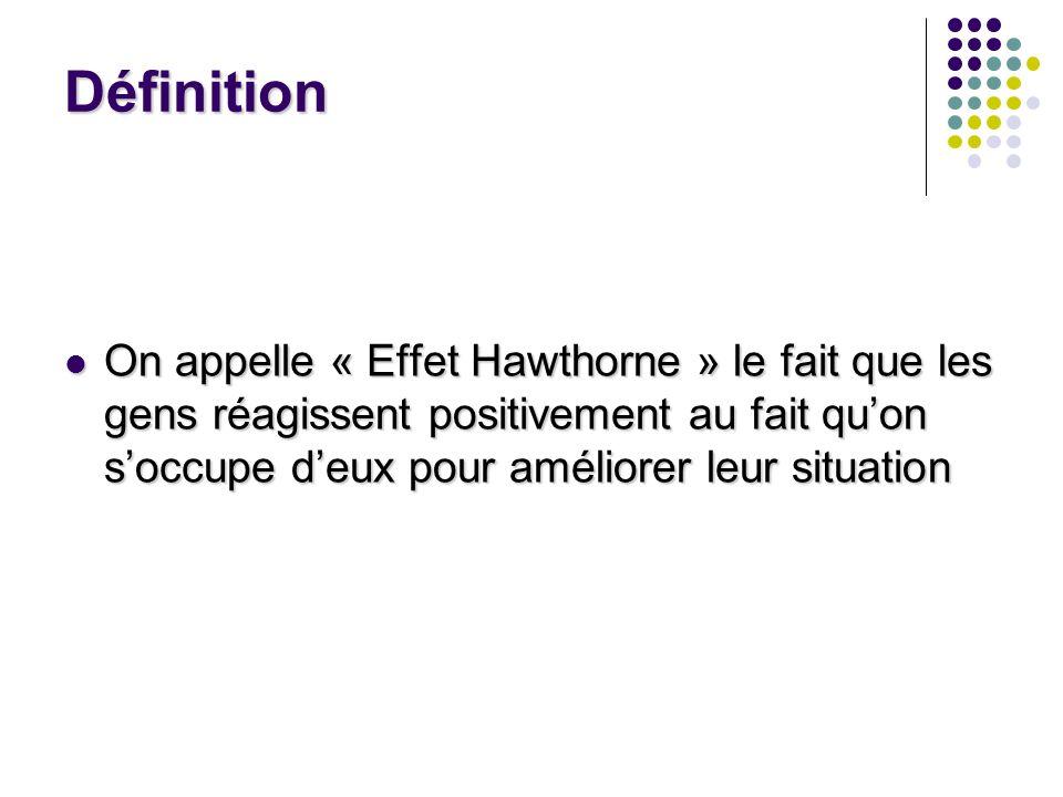 DéfinitionOn appelle « Effet Hawthorne » le fait que les gens réagissent positivement au fait qu'on s'occupe d'eux pour améliorer leur situation.