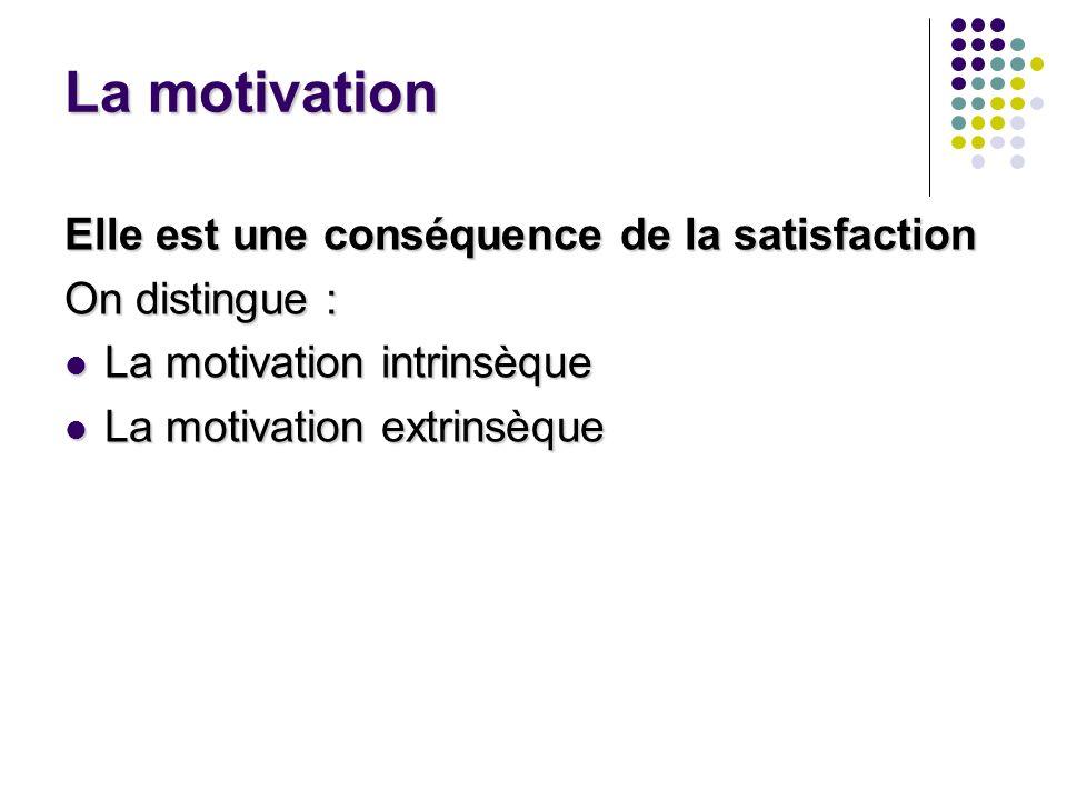 La motivation Elle est une conséquence de la satisfaction