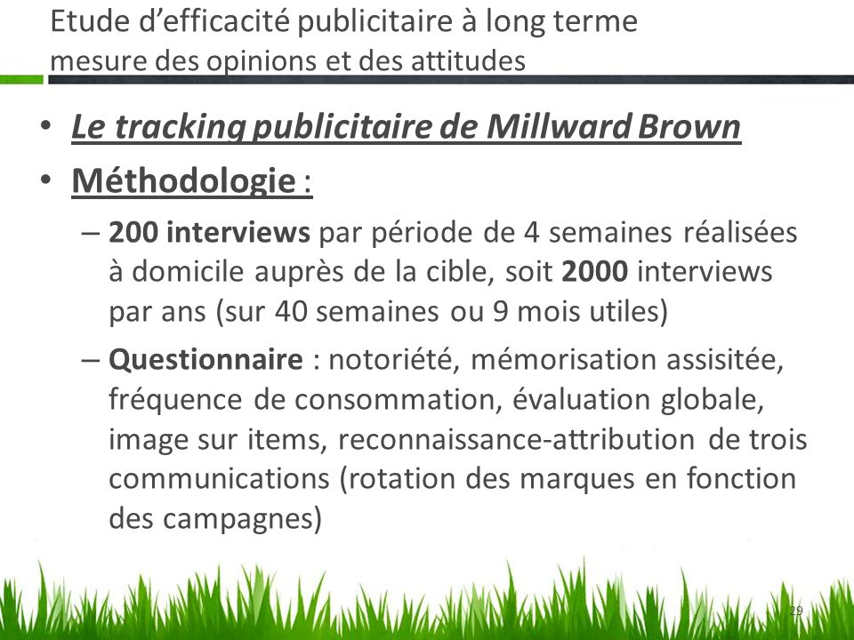 Le tracking publicitaire de Millward Brown Méthodologie :