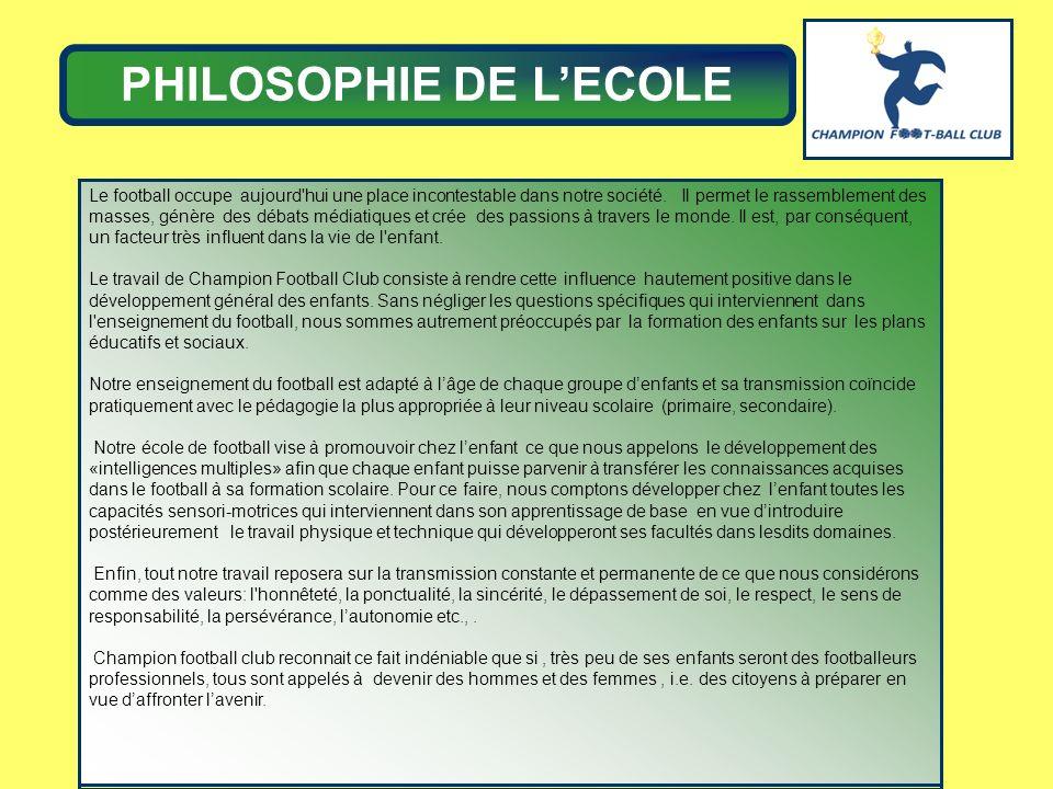 PHILOSOPHIE DE L'ECOLE