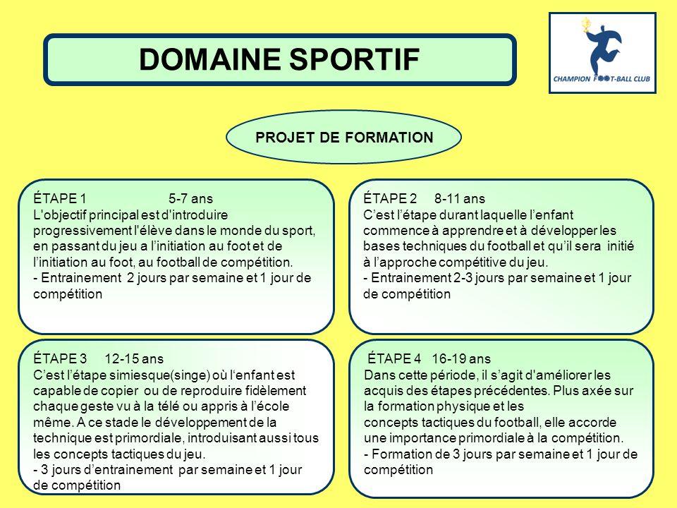 DOMAINE SPORTIF PROJET DE FORMATION