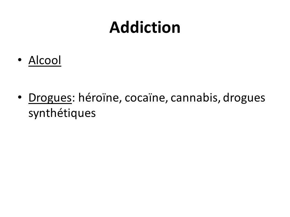 Addiction Alcool. Drogues: héroïne, cocaïne, cannabis, drogues synthétiques. Besoin de sensations pour échapper à l'ennuie ou un problème.