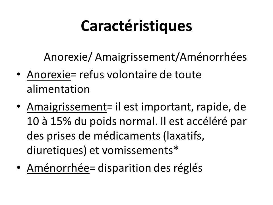 Caractéristiques Anorexie/ Amaigrissement/Aménorrhées