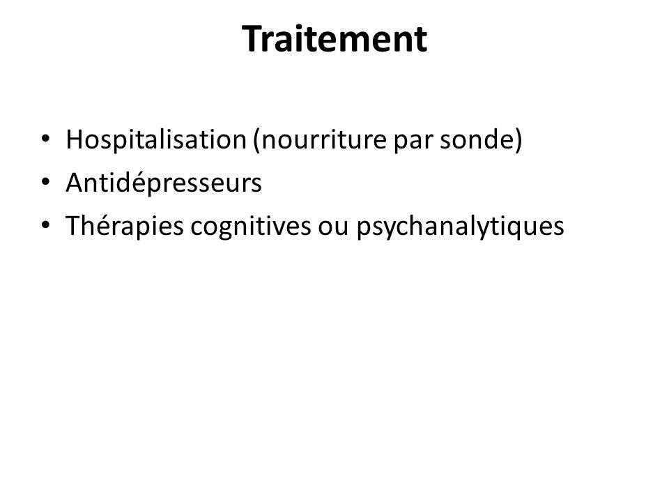 Traitement Hospitalisation (nourriture par sonde) Antidépresseurs