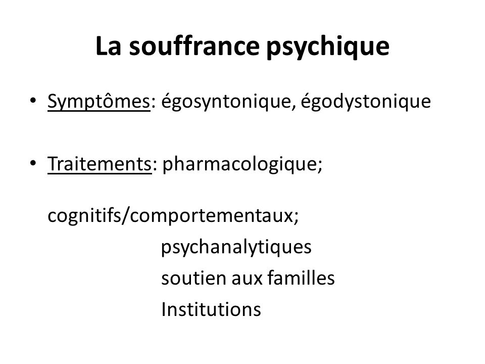 La souffrance psychique