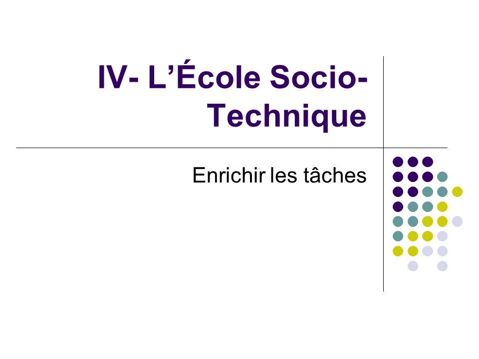 IV- L'École Socio-Technique