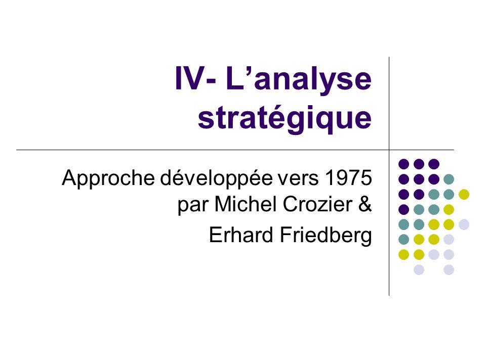 IV- L'analyse stratégique