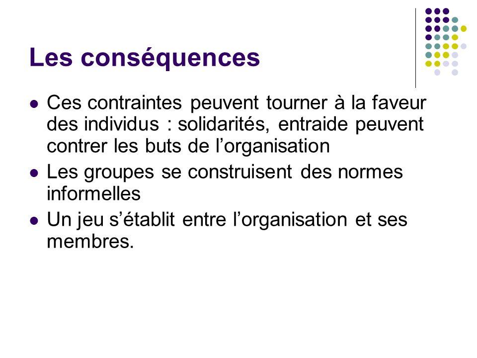 Les conséquencesCes contraintes peuvent tourner à la faveur des individus : solidarités, entraide peuvent contrer les buts de l'organisation.