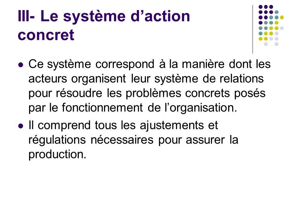 III- Le système d'action concret