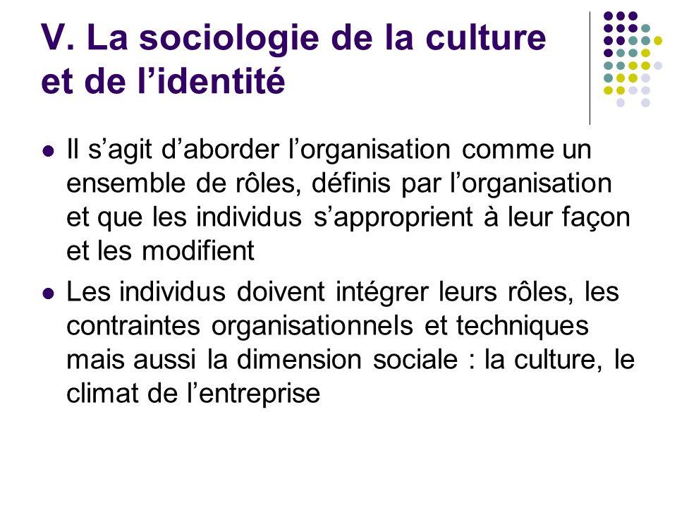 V. La sociologie de la culture et de l'identité