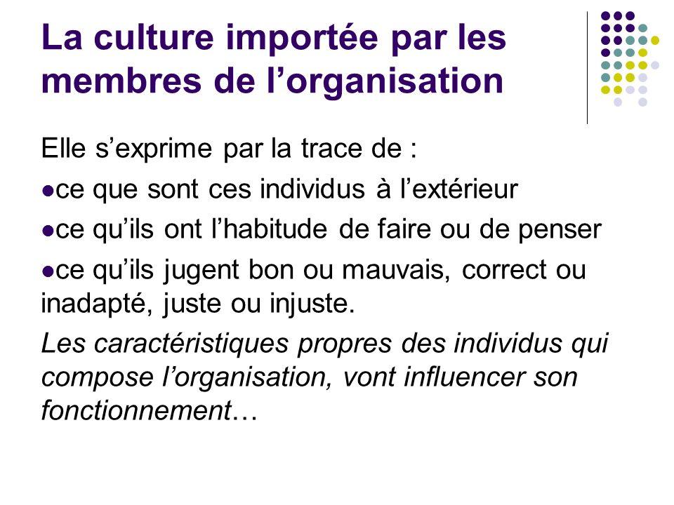 La culture importée par les membres de l'organisation