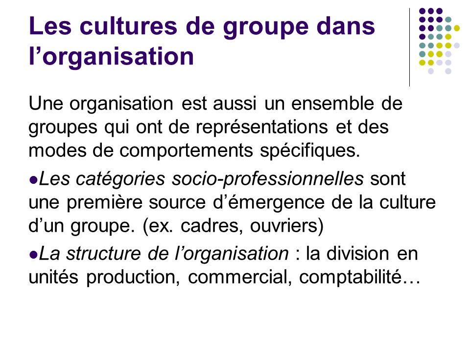 Les cultures de groupe dans l'organisation