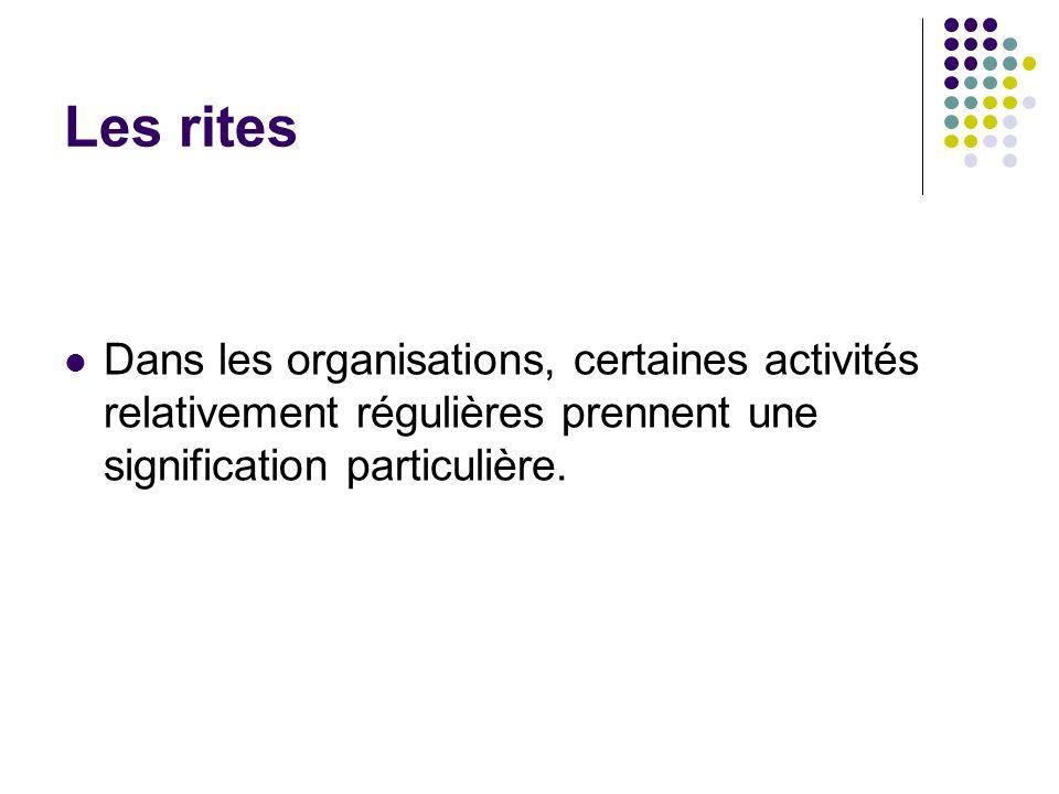 Les rites Dans les organisations, certaines activités relativement régulières prennent une signification particulière.