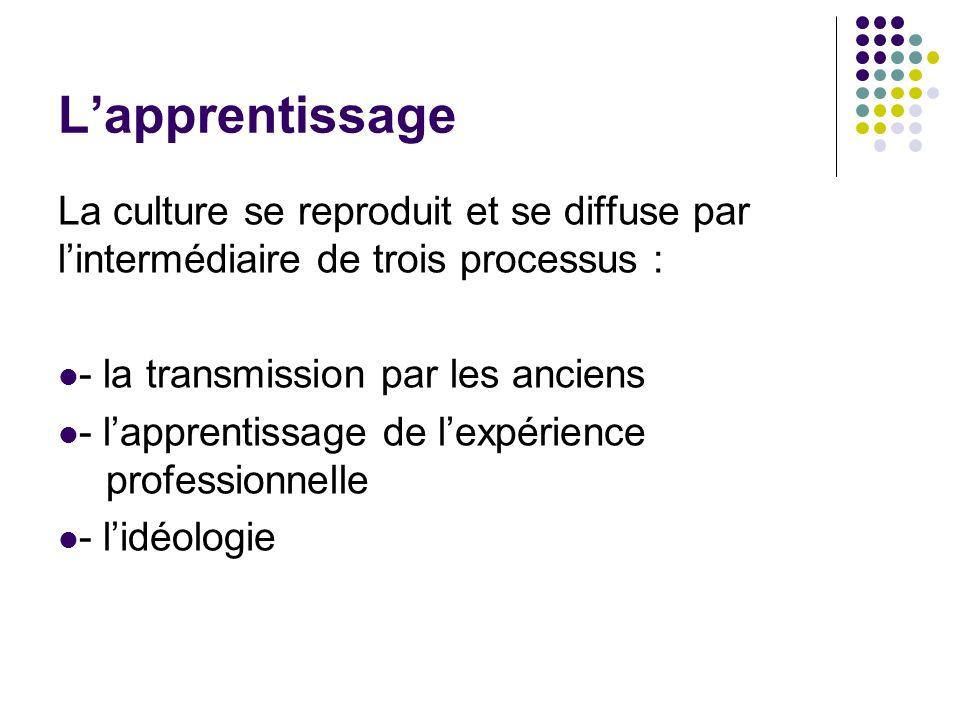 L'apprentissageLa culture se reproduit et se diffuse par l'intermédiaire de trois processus : - la transmission par les anciens.