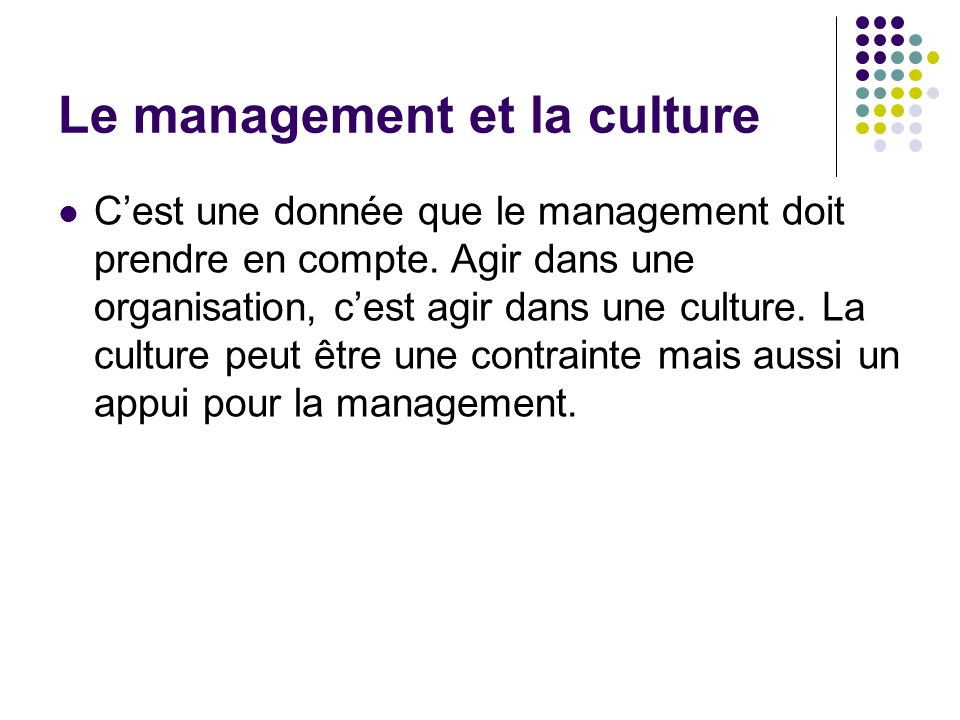 Le management et la culture