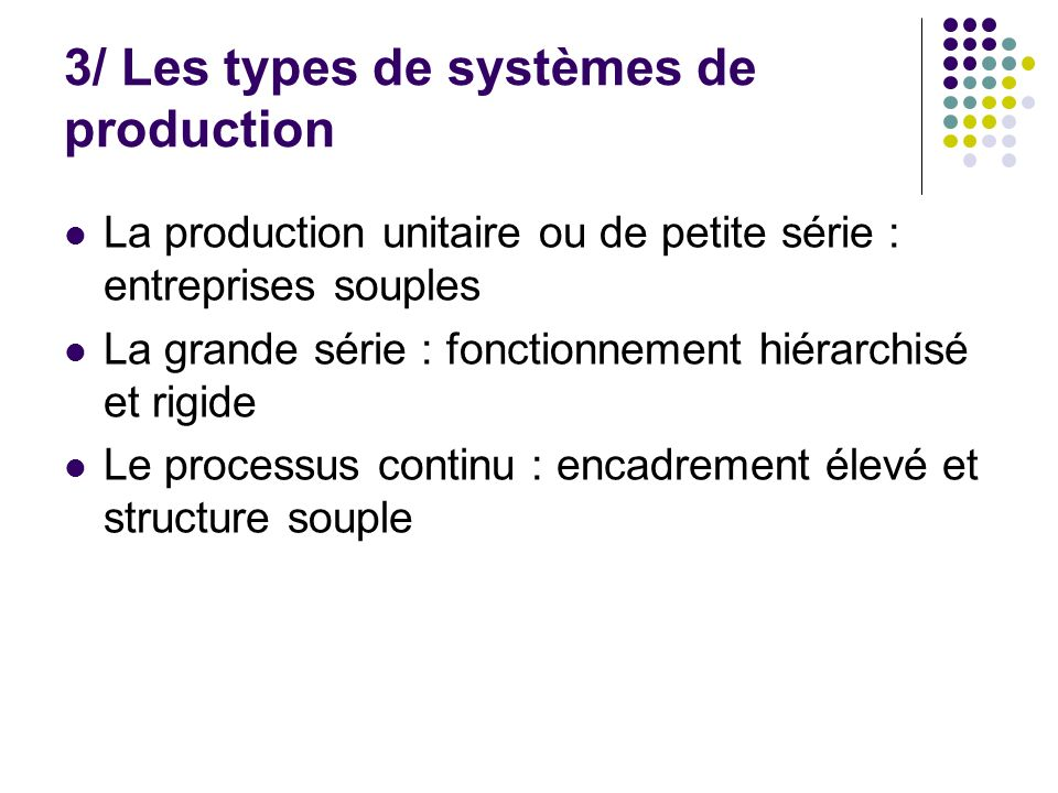 3/ Les types de systèmes de production
