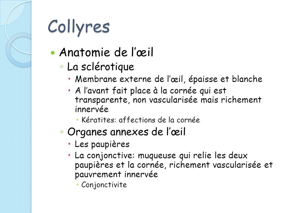 Collyres Anatomie de l'œil La sclérotique Organes annexes de l'œil