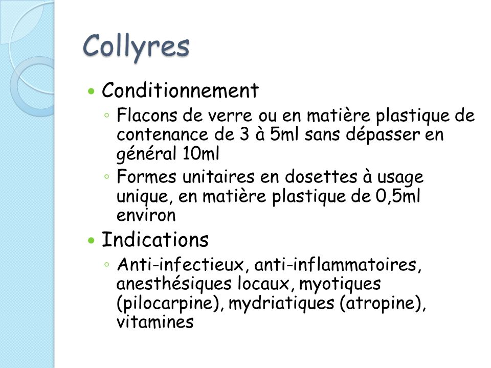 Collyres Conditionnement Indications