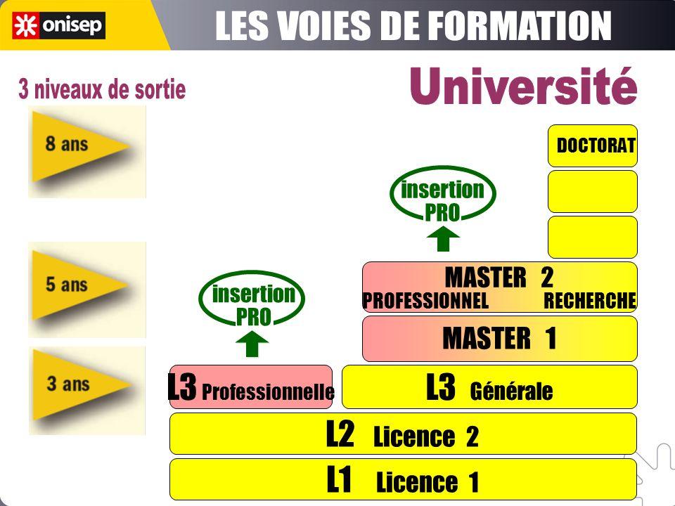 LES VOIES DE FORMATION Université 3 niveaux de sortie