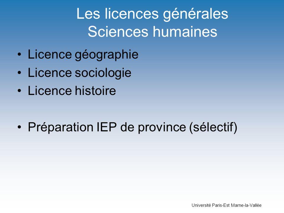 Les licences générales Sciences humaines