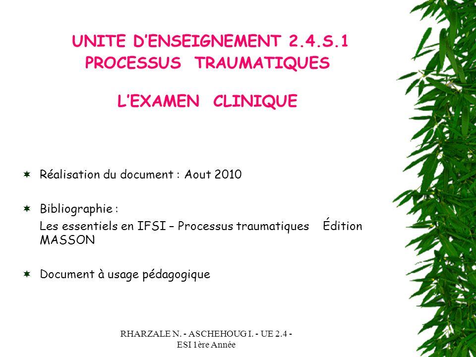 UNITE D'ENSEIGNEMENT 2.4.S.1 PROCESSUS TRAUMATIQUES L'EXAMEN CLINIQUE