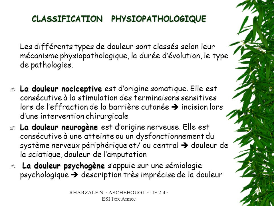 CLASSIFICATION PHYSIOPATHOLOGIQUE