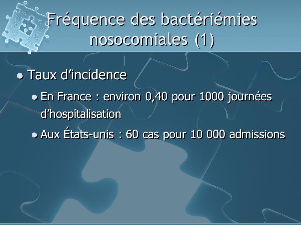 Fréquence des bactériémies nosocomiales (1)