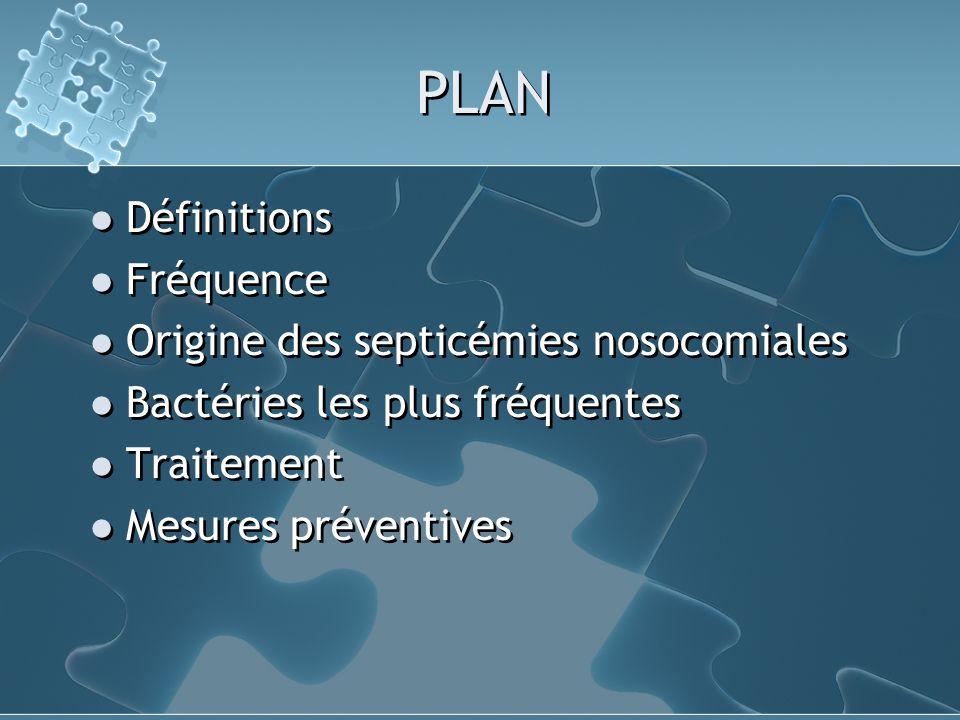 PLAN Définitions Fréquence Origine des septicémies nosocomiales