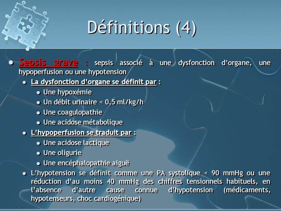 Définitions (4) Sepsis grave : sepsis associé à une dysfonction d'organe, une hypoperfusion ou une hypotension.