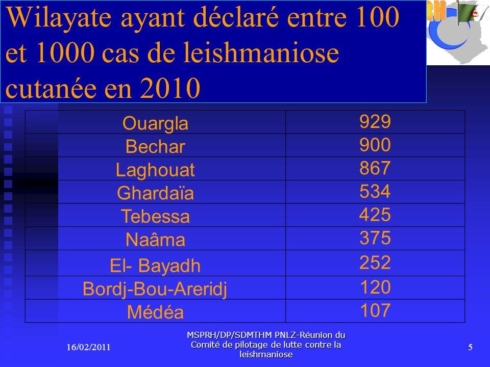 Wilayate ayant déclaré entre 100 et 1000 cas de leishmaniose cutanée en 2010