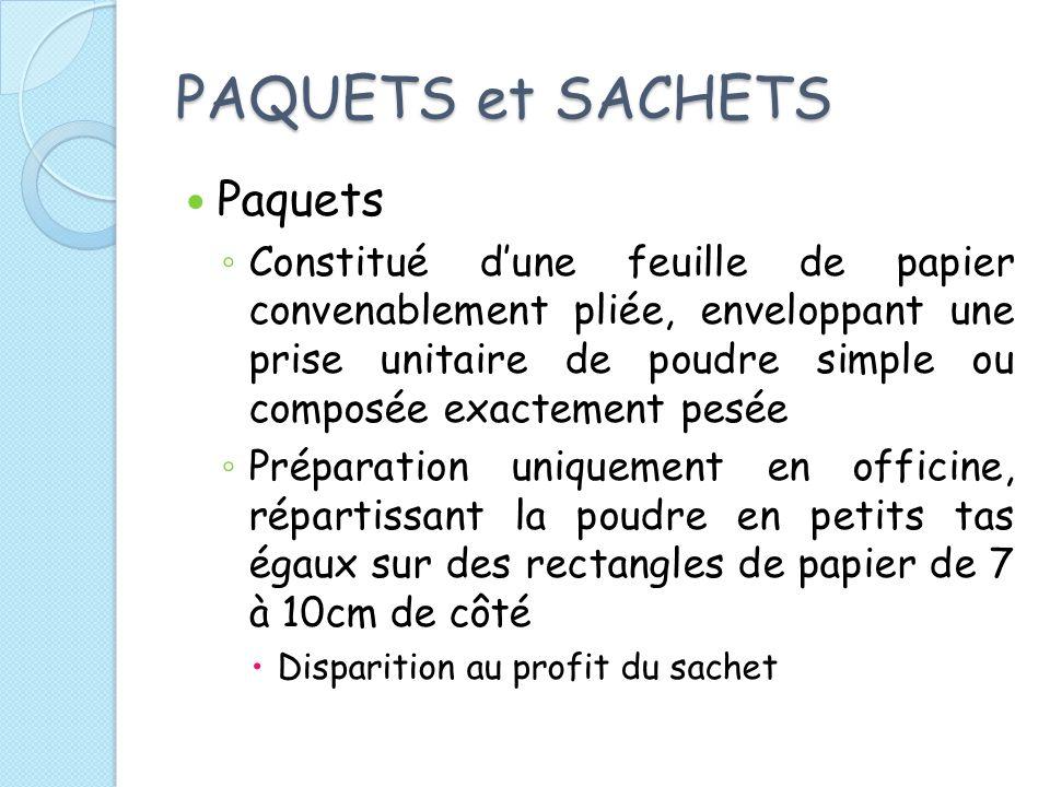 PAQUETS et SACHETS Paquets