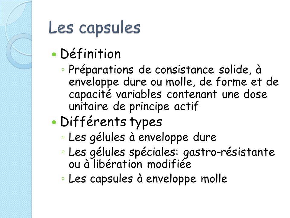 Les capsules Définition Différents types