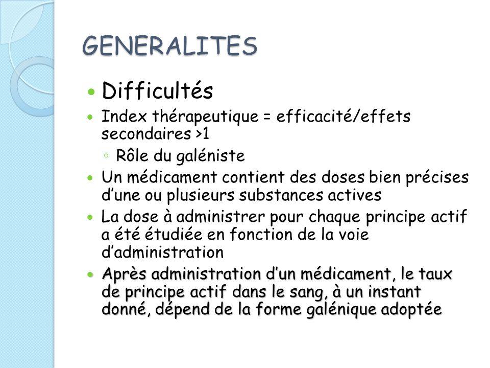 GENERALITES Difficultés