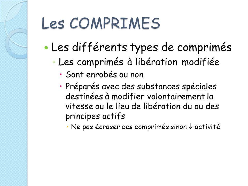 Les COMPRIMES Les différents types de comprimés