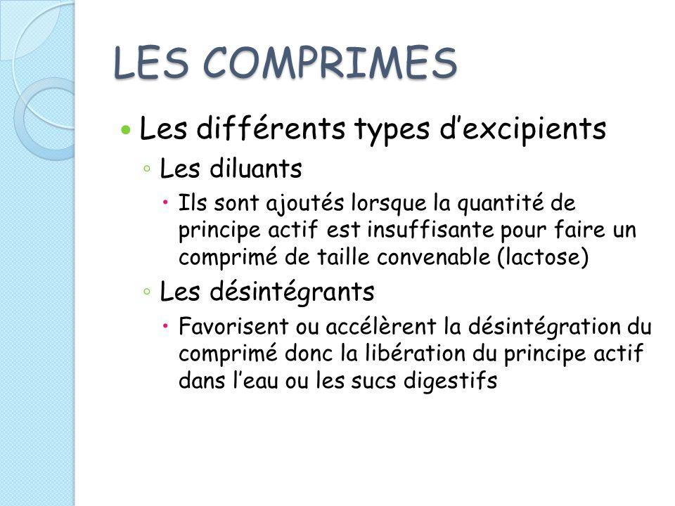 LES COMPRIMES Les différents types d'excipients Les diluants