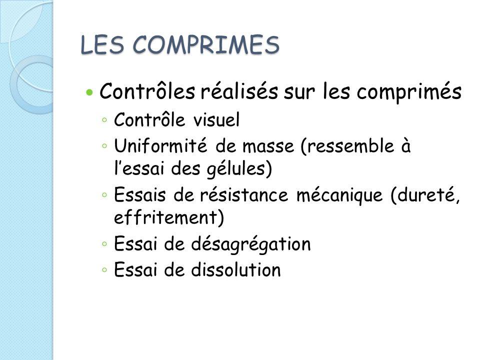 LES COMPRIMES Contrôles réalisés sur les comprimés Contrôle visuel