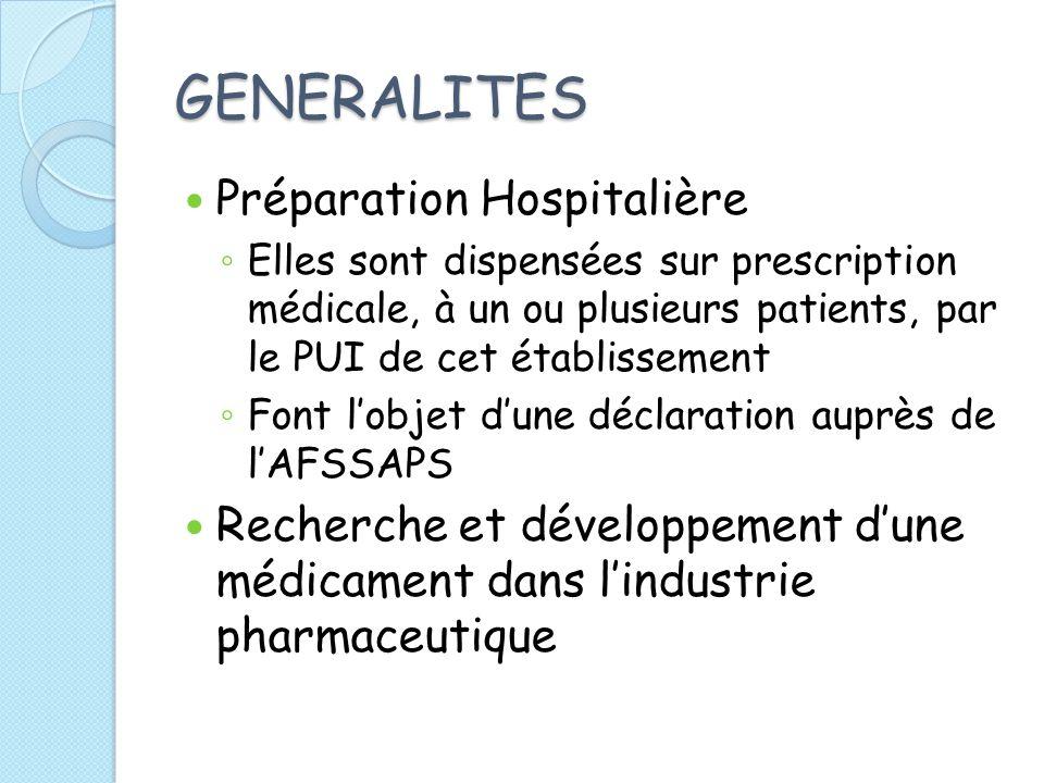 GENERALITES Préparation Hospitalière