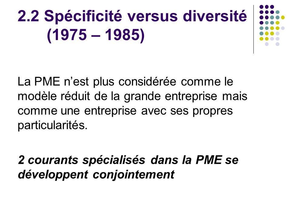 2.2 Spécificité versus diversité (1975 – 1985)