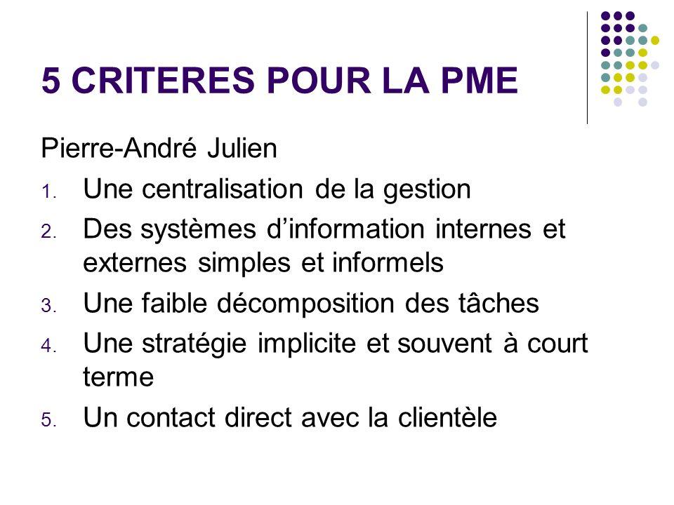 5 CRITERES POUR LA PME Pierre-André Julien