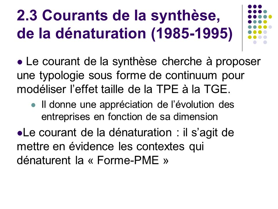2.3 Courants de la synthèse, de la dénaturation ( )