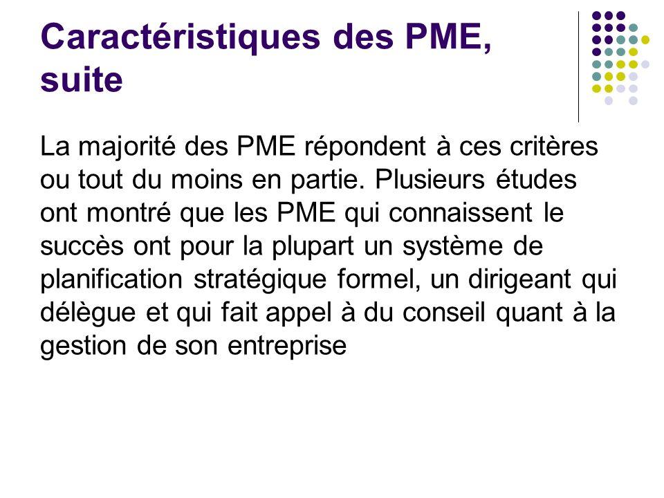 Caractéristiques des PME, suite