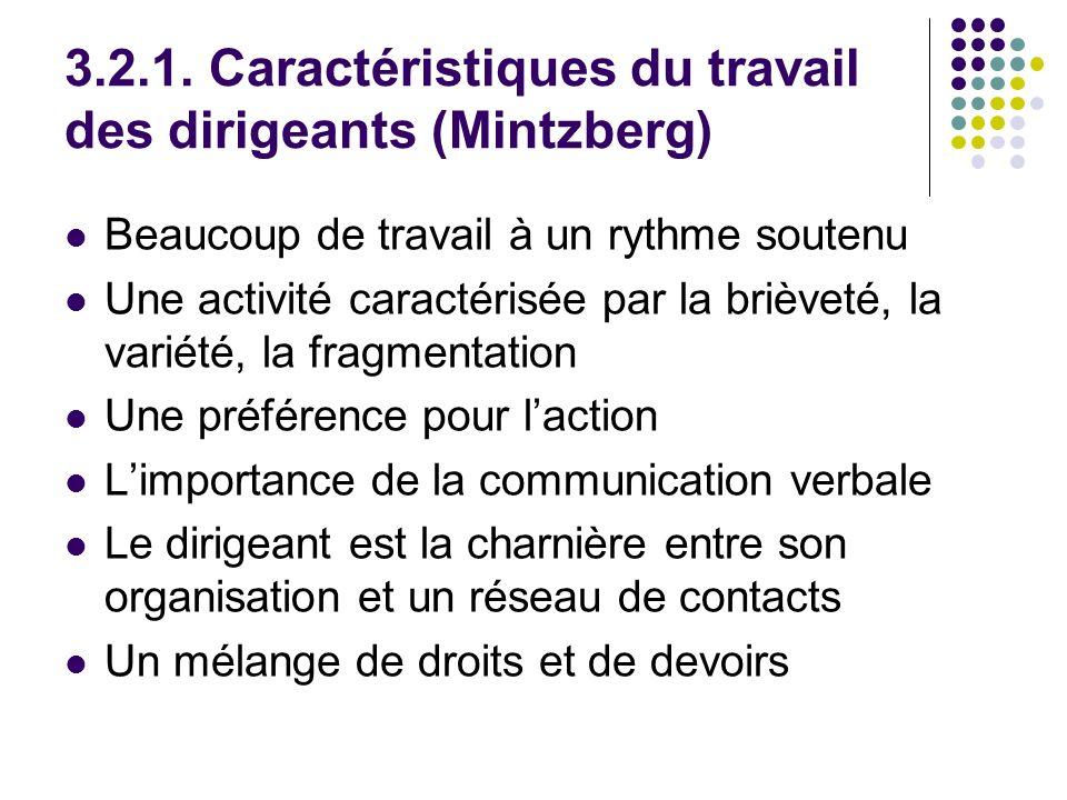 3.2.1. Caractéristiques du travail des dirigeants (Mintzberg)