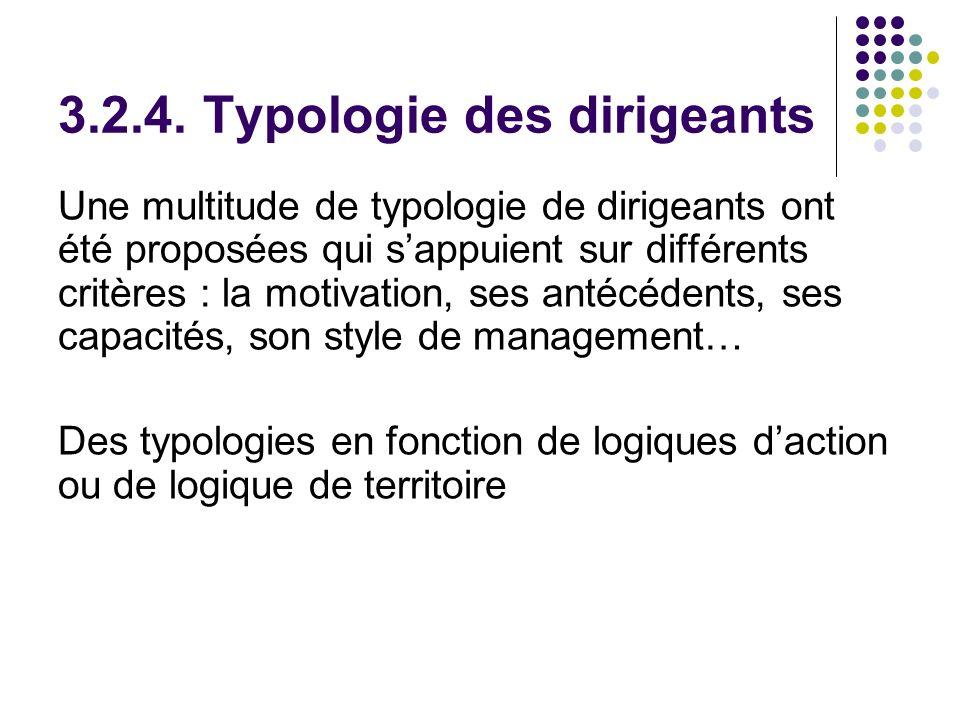 3.2.4. Typologie des dirigeants