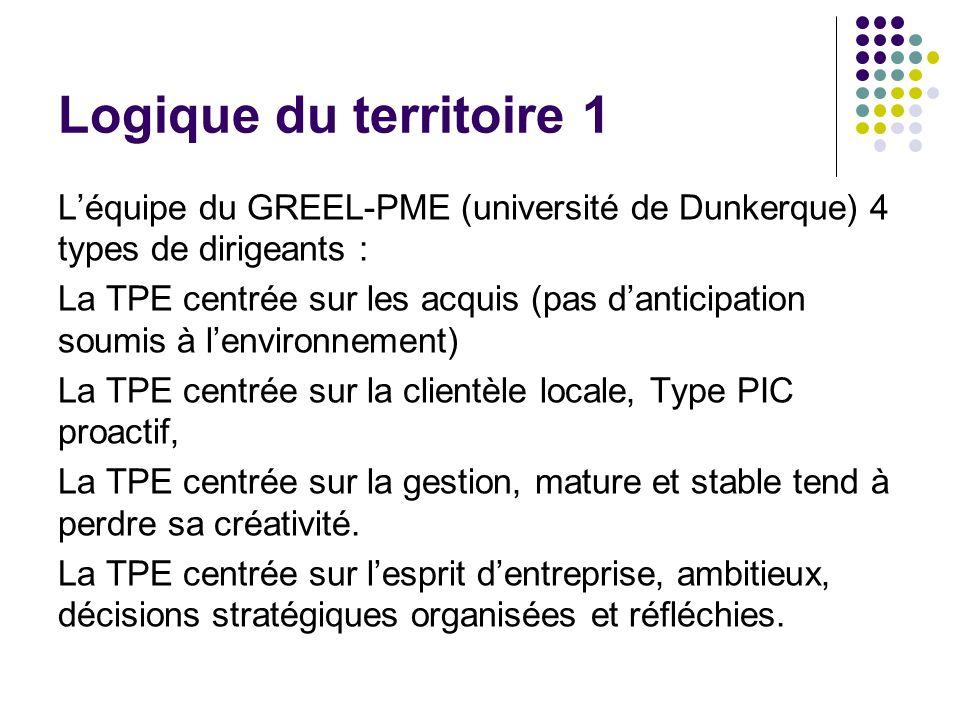 Logique du territoire 1 L'équipe du GREEL-PME (université de Dunkerque) 4 types de dirigeants :