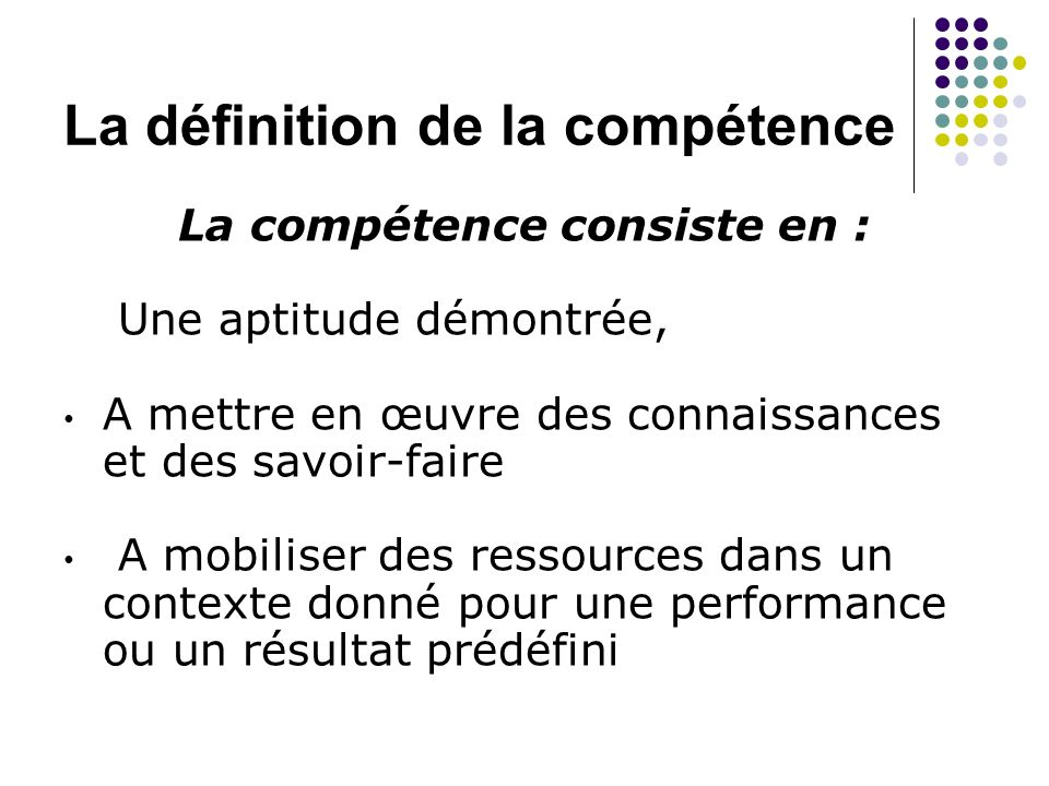 La définition de la compétence