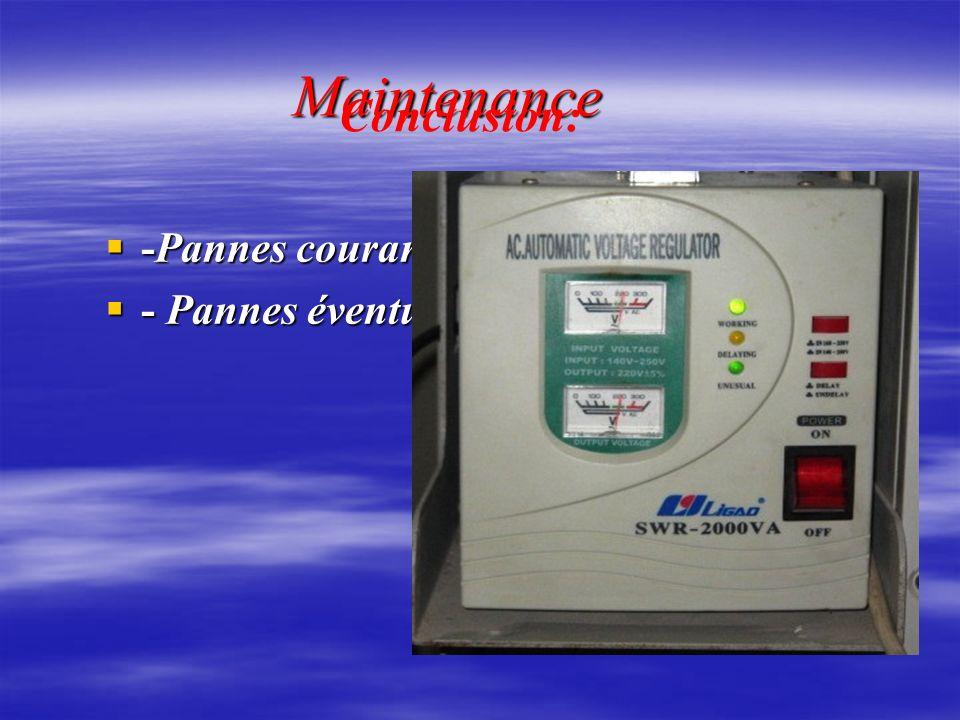Maintenance Conclusion: -Pannes courantes - Pannes éventuelles