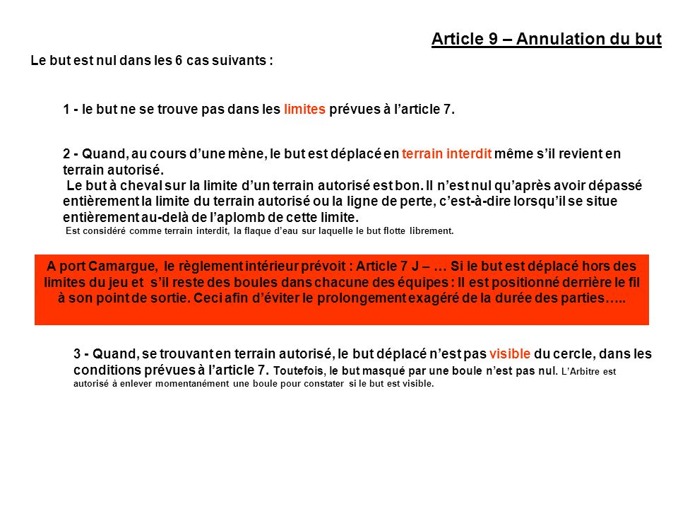 Article 9 – Annulation du but