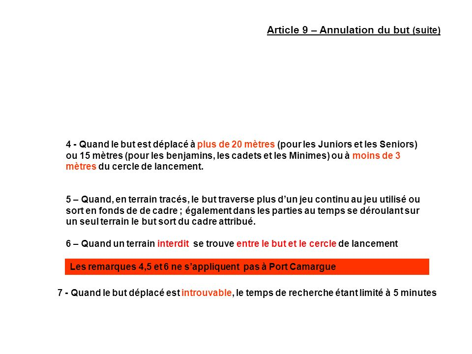 Article 9 – Annulation du but (suite)