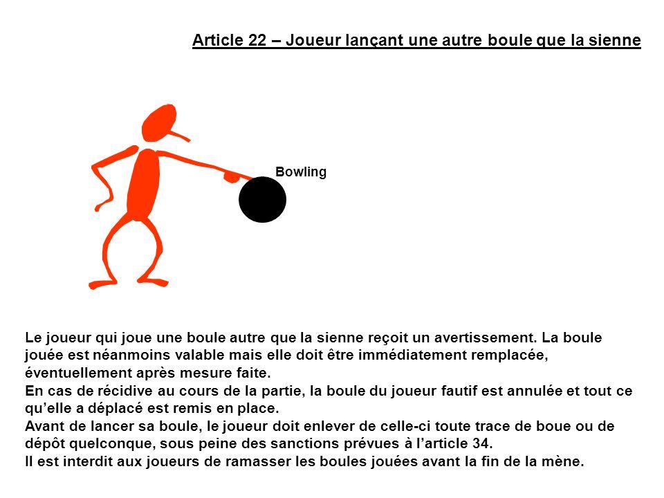 Article 22 – Joueur lançant une autre boule que la sienne