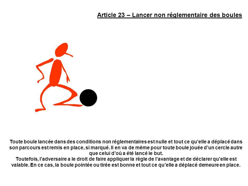 Article 23 – Lancer non réglementaire des boules